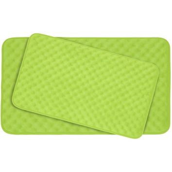 Bounce Comfort Extra Thick Memory Foam Bath Mat Set - Massage Plush 2 Piece Set with BounceComfort Technology, 20 x 32 in. Lime