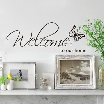 Welcome to Our Home Diy 3d Butterfly Art Decor Removable Wall Sticker Wall Decals Mural 26*71cm