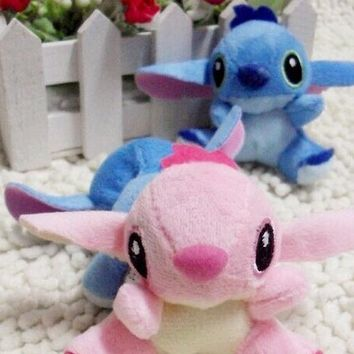 Kawaii 10PCS/LOT 7*6CM Lovers Lilo Stitch Plush Stuffed TOY , Pendant Plush DOLL BAG Key Chain TOY Bouquet Doll