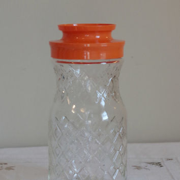 Vtg Anchor Hocking Juice Carafe- Diamond Quilted Glass Pitcher- Lidded Carafe- Retro Glassware