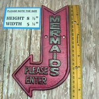Mermaids Please Enter Cast Iron Arrow Pointing Mermaid Entrance Enter Wall Decor Sign Hot Bold Berry Pink Shabby Style Chic Nautical Beach