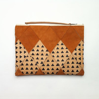 Camel Leather and Suede Clutch