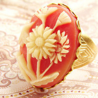 Vintage Cameo Adjustable Ring coral peach, ivory, antiqued brass adjustable ring