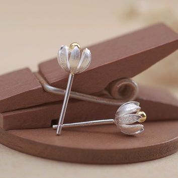 Womens Old Sterling Silver 3D Tulips Ear Studs Earrings + Gift Box-03
