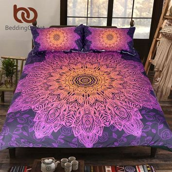 BeddingOutlet Bohemian Flower Bedding Set Gradient Purple Mandala Quilt Cover Set King Size Home Textiles Drop Ship
