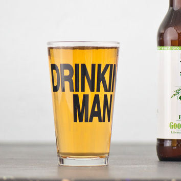 Drinking Man 2 hand printed pint glasses dark charcoal by vital