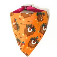 Orange Turkey Fall Autumn Thanksgiving Monogrammed/Personalized Slip On Dog Puppy Over Collar Bandana Neckerchief Pet Fashion Accessory