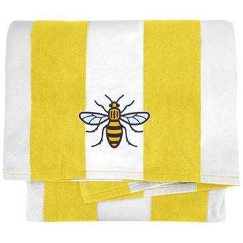 Manchester Bee Cabana Stripe Beach Towel