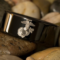 Tungsten Carbide Band Marines 9mm Black Pipe Ring