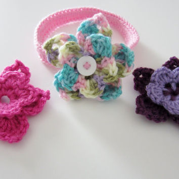 Baby crochet headband set with three flowers, pink headband, crochet flowers, crochet baby headband, custom colors