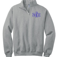 Monogram Pullover Sweatshirt  1/4-Zip Personalized Christmas Gift Under 50 Dollars