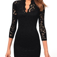 Black Lace ¾ Sleeve Dress
