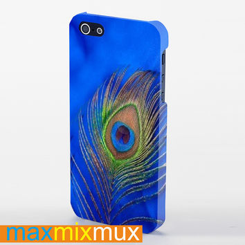 Blue Peacock Feather iPhone 4/4S, 5/5S, 5C Series Full Wrap Case