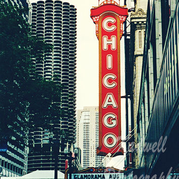 Chicago Theatre Sign Fine Art Photography, City Landscape, Chicago Photo, Travel Print, Illinois Picture, Midwest City Street