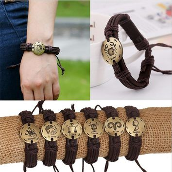 Fashion 12 Zodiac Signs Leather Bracelet Constellations Leather Bracelets Adjustable Bracelet Jewelry SL-409