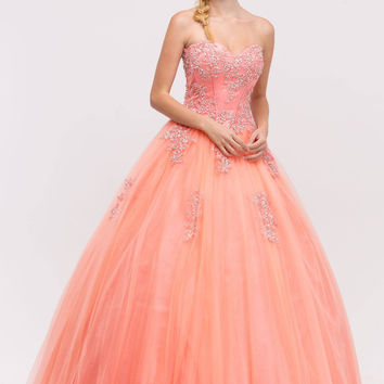 Sweetheart Neck Embroidered Strapless Coral Ball Gown