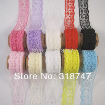 2.2cm Multi colors option Embroidered Net Lace Trim Ribbon Yarns Craft Accessories 5y 10y (without spool) 17010010