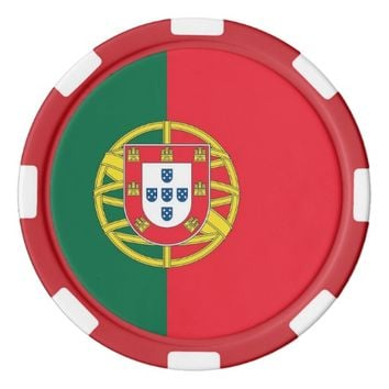 Poker chips with Flag of Portugal