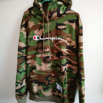 Champion Fashion letters embroidered drawstring hooded camouflage sweater G