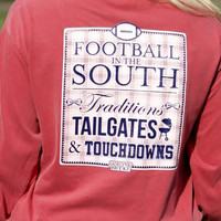 Jadelynn Brooke Long Sleeve Tee- Football in the South