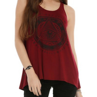 Burgundy Abstract Eye Girls Tank Top