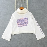 Lettering Cropped Turtleneck Sweater