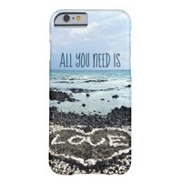 """""""Need Love"""" Quote Hawaii Beach & Coral Heart Photo Barely There iPhone 6 Case"""