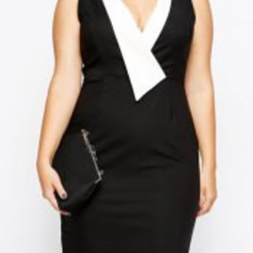 OL Style Plunging Neck Sleeveless Hit Color Bodycon Dress Plus Size