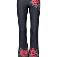 Wildflower Rose Embroidered Flared Bell Bottom Pants