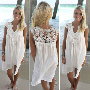Womens Beachwear Dresses Solid Color White Lace Clubwear Summer Sundress Vestido Clothing Blouse Tops Dress