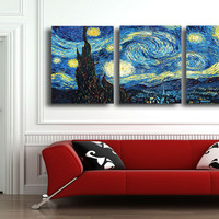 Masters Starry Night Vincent Van Gogh prints reputation oil painting on canvas wall art picture for living room picture T/1111