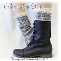 NORDIC LACE in Salt n Pepper lace boot socks slouch socks combat boot socks womens boot socks cowboy boot socks Catherine Cole Studio SLX1B