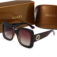 Gucci Popular Women Men Casual Sun Shades Eyeglasses Glasses Sunglasses(5-Color) Coffee  no box