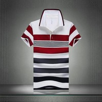 92% Cotton camisa Men Polo Shirt Casual Striped Slim short sleeves