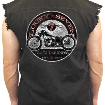 Men's Sleeveless Denim Shirt Lucky Seven Black Darkness