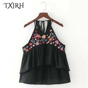 TXJRH Sweet Floral Embroidery Double Layer Pleated Ruffles Hem Back Lacing up Tied Bow T-Shirt Tee Women Tops Black SY17-05-50