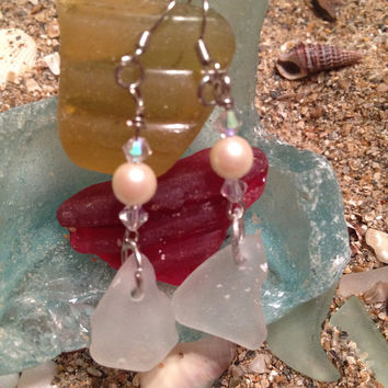 White drops sea glass and pearl drop earrings, Rare Beach Glass, sea glass pendant, beach glass jewelry, texas sea glass, swarovski crystals