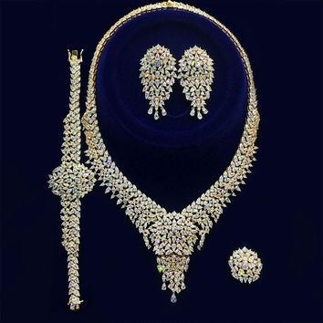 Luxury Bridal Set Cubic Zirconia Necklace Ring Bracelet Earrings Jewelry Set