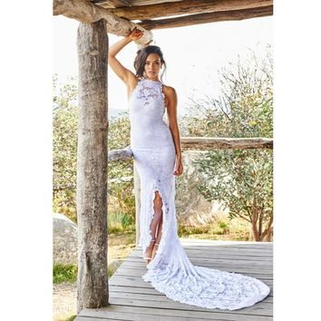 Boho Country Style High Neck Lace Backless Wedding Dresses 2017 Customized Bohemian Bridal Dress Romantic Beach Wedding Gowns