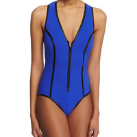 Faux Leather-Trim Zip-Front One-Piece Swimsuit
