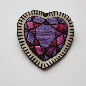 Hand Embroidered Crystal Heart Patch / Brooch. Purple Heart Gem Sew On Patch or Brooch / Pin. Autumn 2015 Trends. *MADE TO ORDER*