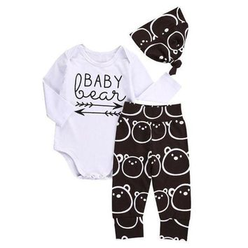 PEAP78W Newborn Baby Girls Boys Tops baby Romper +Long Pants Hat 3Pcs Outfits Clothes YL drop shipping