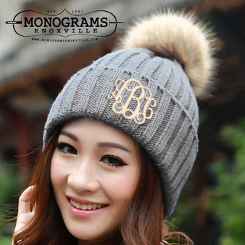 Monogrammed Grey Knit Toboggan Beanie Winter Hat  Font shown INTERLOCKING in khaki