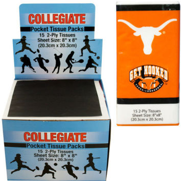 texas longhorns pocket tissues countertop display Case of 48