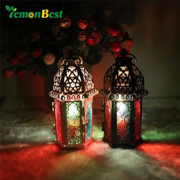 LemonBest Moroccan Candle Holder Lantern Windproof Glass Candlestick Candle Lantern for Christmas Wedding Patty Home Decoration