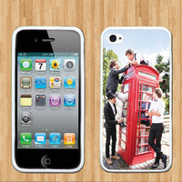 One Direction Phone Booth iPhone Case - Rubber Silicone iPhone 4 Case or Plastic iPhone 5 Case - Free Screen Protector Included