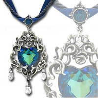 Alchemy Gothic Empress Eugenie's Blue Heart Diamond Pendant Necklace