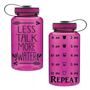 Less Talk More Water 34oz Water Intake Tracker. Gym Water Bottle. Personalized Water Bottle. Hourly Reminders. Healthy.