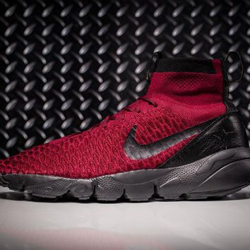 85d35fbb9 Nike Air Footscape Magista Flyknit Mens Lifestyle New Red / Black Sneakers