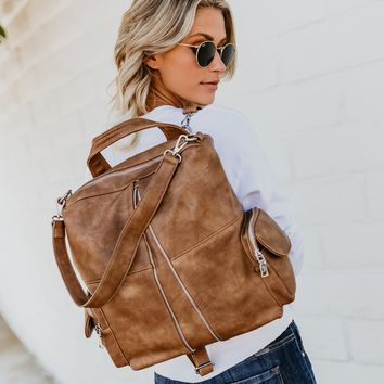 Dallas Vegan Leather Backpack - Whiskey
